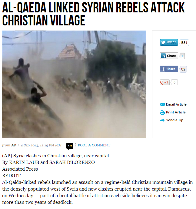 syrain al-qaida attack christian village 4.9.2013