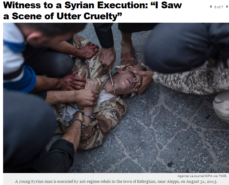 syrian rebel jihadis execute regime soldier by decapitation 13.9.2013
