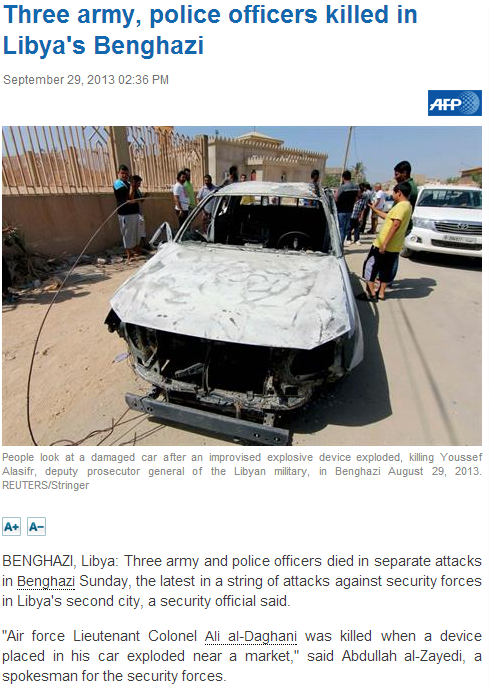 three army police officers dead in benghazi 30.9.2013