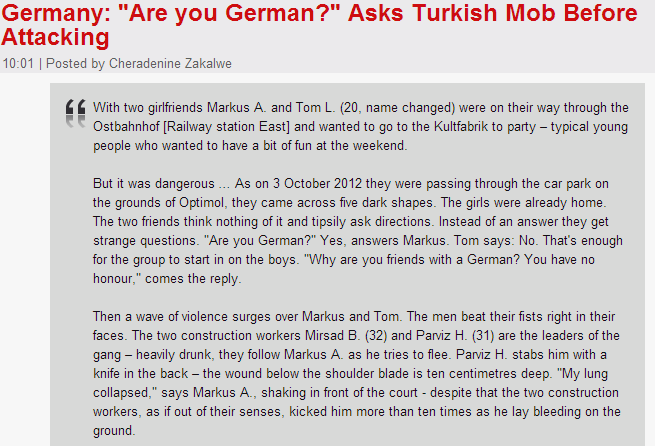 turks ask victims if they are german then beat them up 26.9.2013