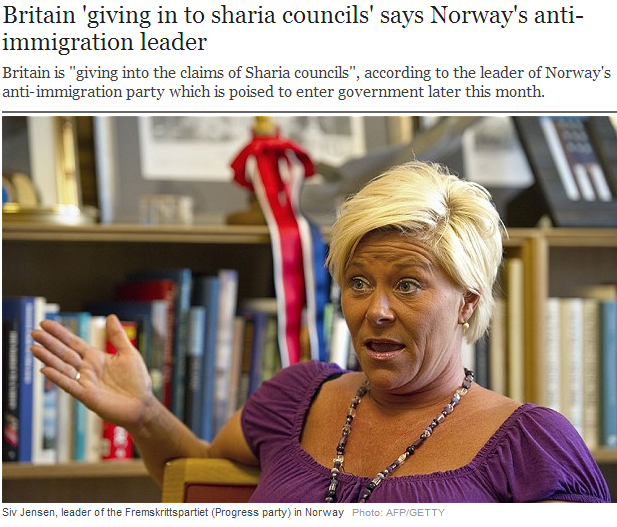 uk caving to islamic sharia law says norwegian anti-islamization party 2.9.2013