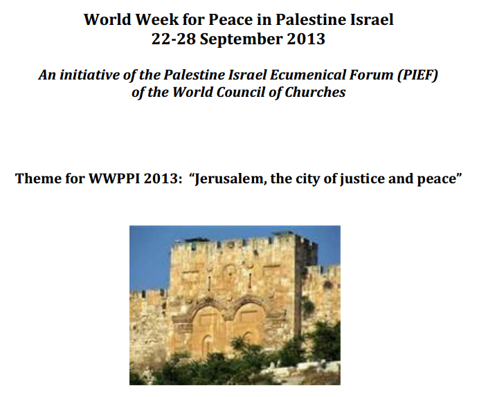 world week for peace and justice in palestine 27.9.2013