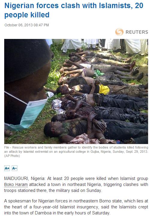 20 dead in nigeria 7.10.2013