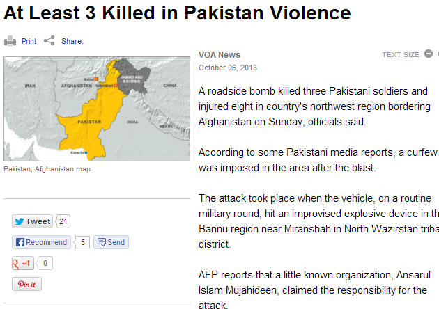 3 dead in pakistan violence 7.10.2013