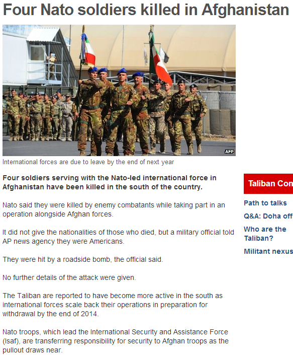 4 nato dead in afghanistan 7.10.2013