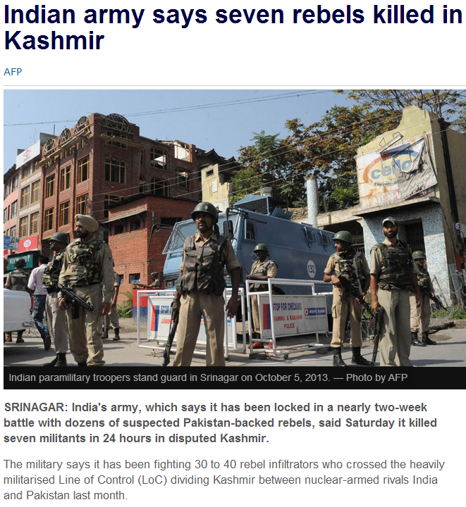 7 rebels killed in kashmir 6.10.2013