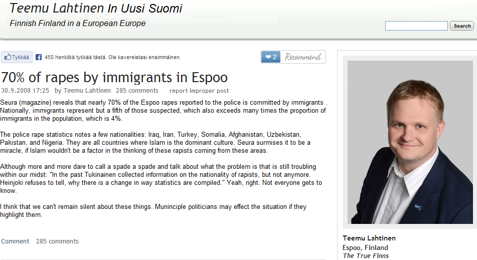 70 perc ent of rapes in espoo done by 4 per cent of the immigrant pop 6.10.2013