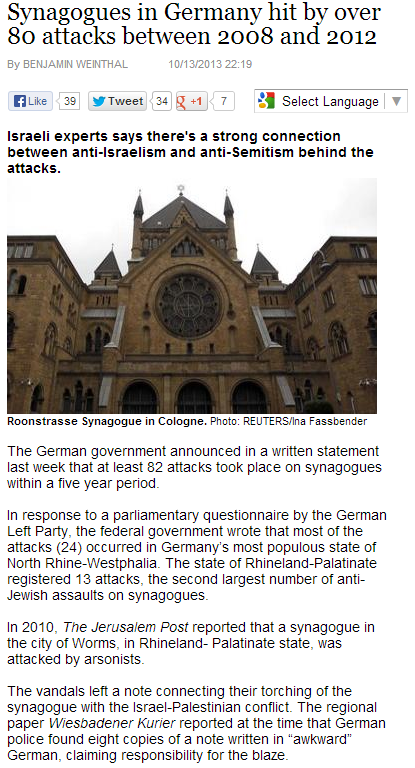 synagogues in germany attacked 80 times between 2008 - 2012