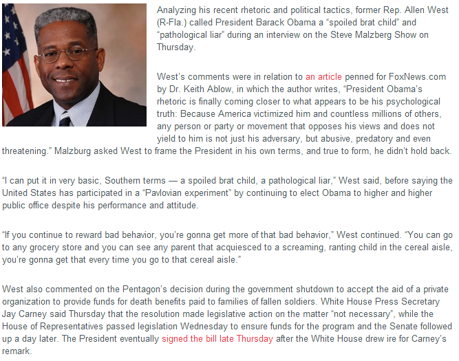 ALLEN WEST ON OBAMA BRAT CHILD PRODUCT OF PAVLOVIAN EXPERIMENT 11.10.2013