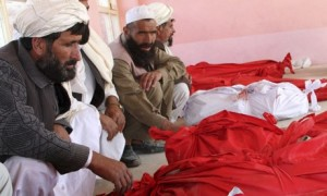 Afghan relatives surround the bodies in Andar
