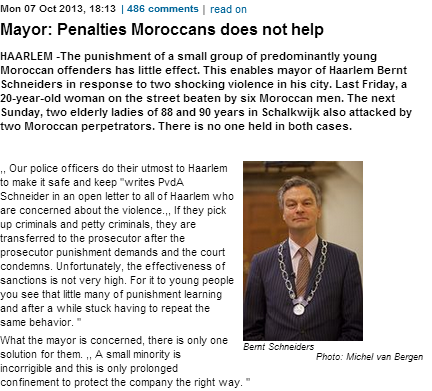 DUTCH MAYOR OF HARLEEM SAYS MOROCCAN CRIMINALS NOT ABLE TO REHABILITATE 8.10.2013
