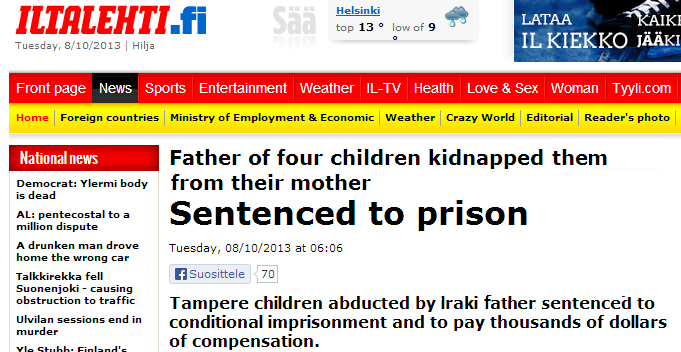 IRAQI FATHER FOUND GUILTY OF KIDNAPPING HIS FOUR CHILDREN BY FINNISH JUDGE 8.10.2013