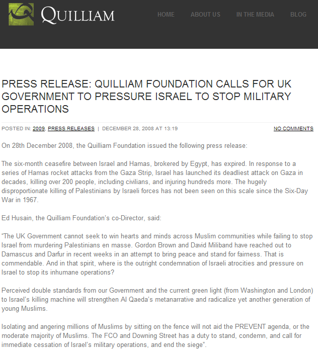 QUILLIAM CALLS FOR ISRAEL TO END SIEGE 9.10.2013
