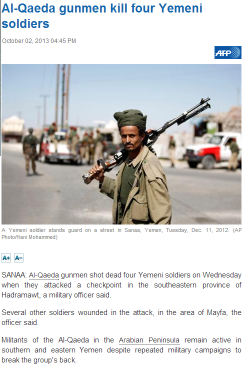 al-qaida kill for yemen soldiers 3.10.2013