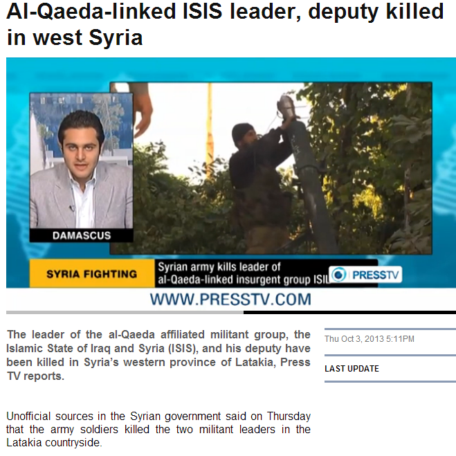 al-qaida linked isis leader killed 4.10.2013