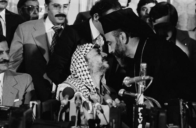 Yasser Arafat Greets Archbishop of Jerusalem Hilarion Capucci