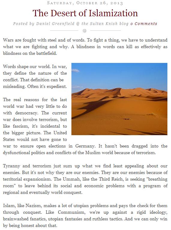daniel greenfield the desert of islamization 26.10.2013