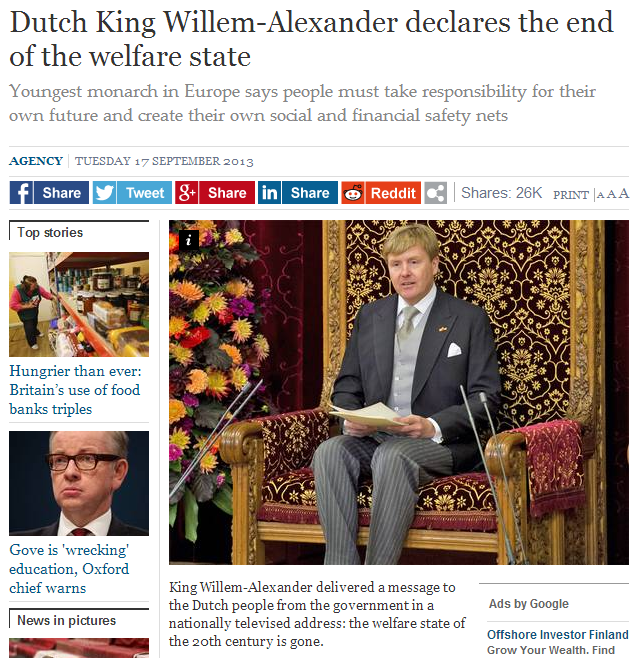 dutch king says goodbye to the welfare state 16.10.2013