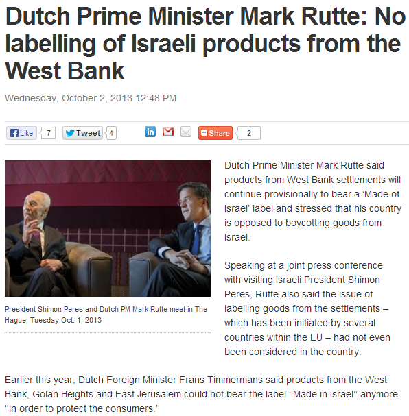 dutch pm rejects special labeling of products from israel 3.10.2013