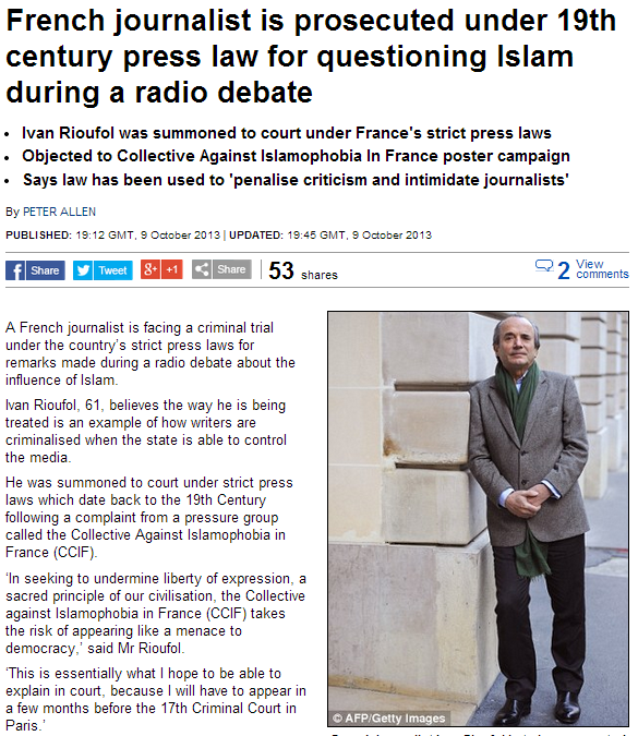 french journalist taken to court for questioning islam 10.10.2013