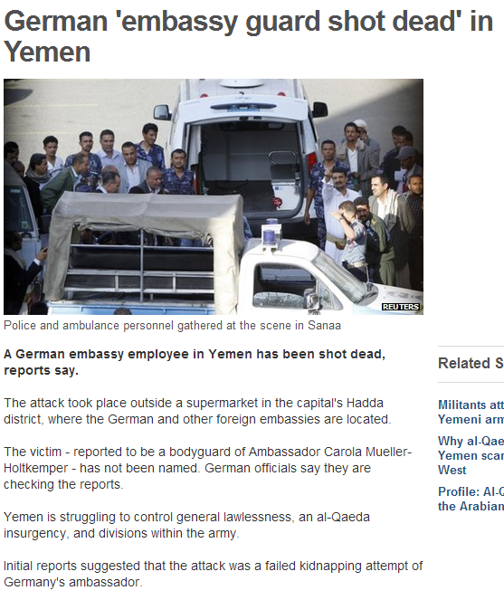german embassy guard shot dead in yemen 7.10.2013
