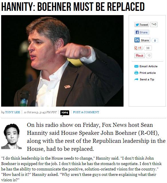 hannity says dump boehner 12.10.2013