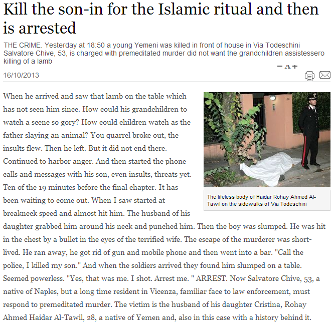 man kill son-in-law for slaughtering lamb on kitchen table in front of children 21.10.2013