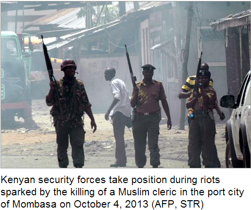 mombasa church burnt riots after c´muslim cleric arrested 4.10.2013