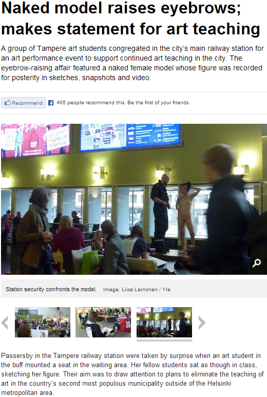 naked model in finnish trainstation in publicity stunt 16.10.2013