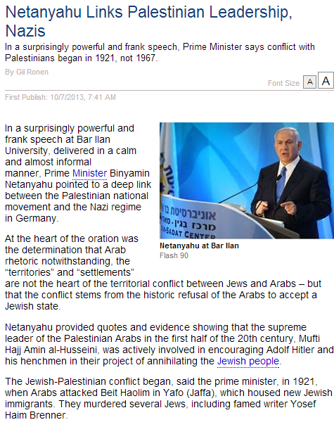 netanyahu links nazis with pali leadership 7.10.2013