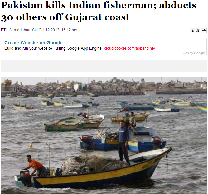pakistan kills indian fisherman 13.10.2013