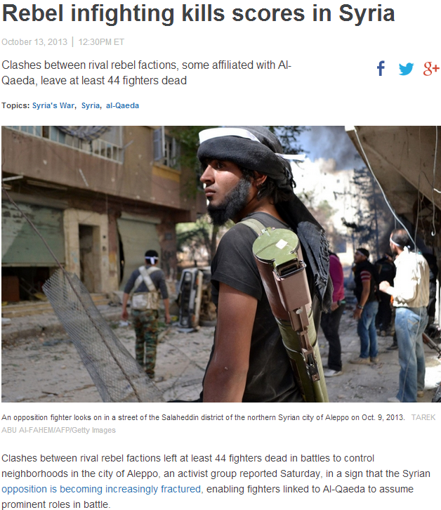rebel infighting killing scores 14.10.2013