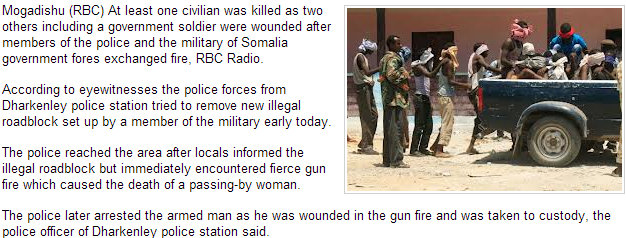somali gov forces fight in mogadishu 1 dead 13.10.2013