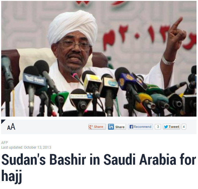 sudan's bashir in saudi arabia for the hajj 13.10.2013