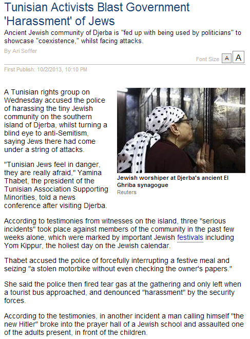 tunisian activist condemns harrassment of jews by government 3.10.2013