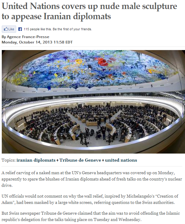 un covers up naked male for iranian diplomat 16.7.2013
