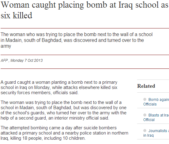 woman caught placing bomb at school 8.10.2013