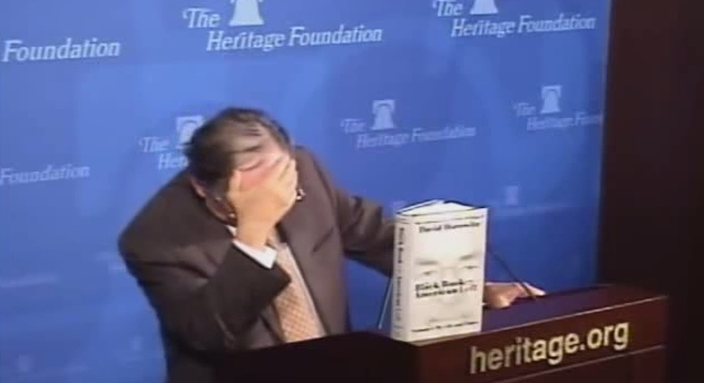 david horowitz face palm during M.Stanton Evans question 13.11.2013