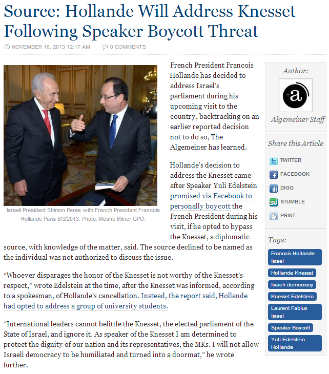 french pres to speak at knesst 10.11.2013
