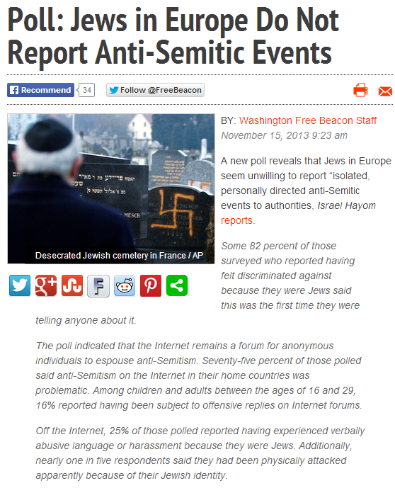 jews in Europe not reporting antisemitic incidents 18.11.2013