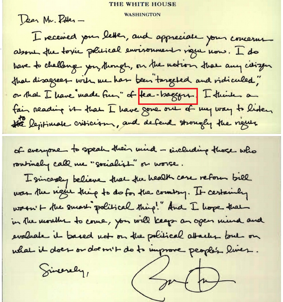 obama gets snippity with a teacher in personal letter about tea-baggers 30.11.2013