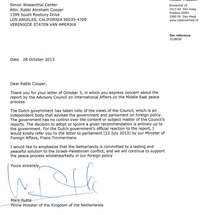 dutch PM rutte reply to swc rabbi cooper 1.11.2013