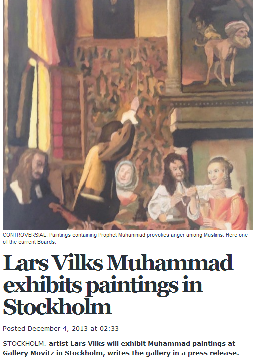 LARS VILKS TO EXHIBIT MOHAMED DOG PAINTINGS IN STOCKHOLM 4.12.2013