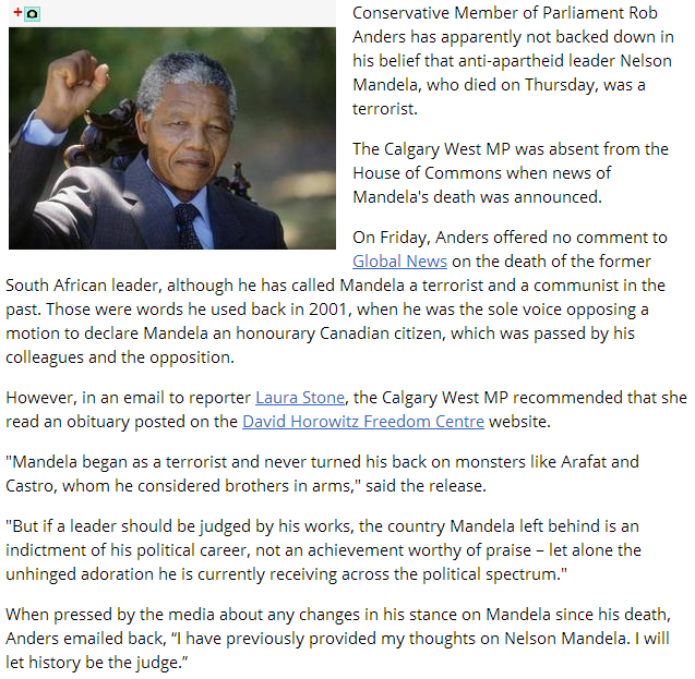 canadian mp says mandela is a terrorist 10.12.2013