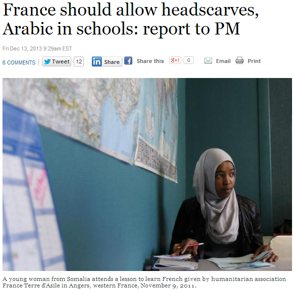 france report allow headscarf and arabic in schools 19.12.2013