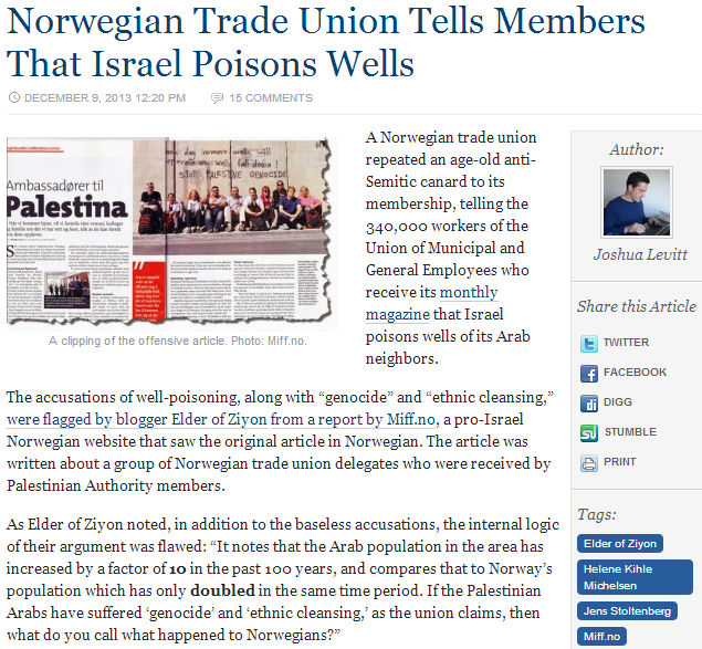 norwegian trade union israel poisonor of wells 10.12.2013