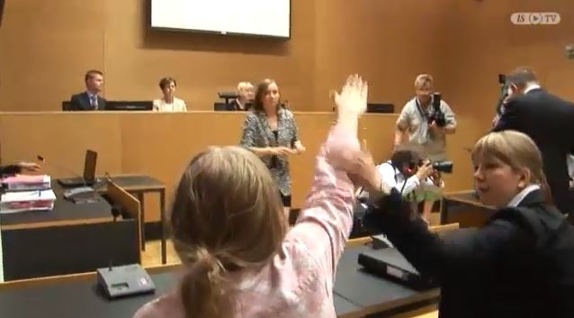 finnish woman give nazi salute in court 26.5.2014