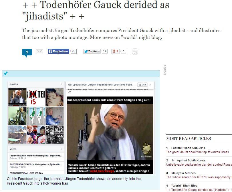 germany- journalist depicts gauck as jihadi