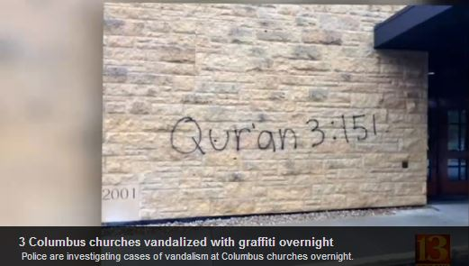 church vandalized by muslims