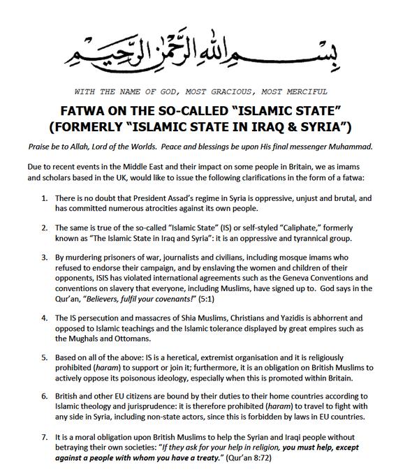 fatwa uk islamic state